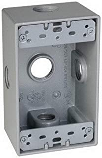 TayMac SB550XS Weatherproof Box, 1-Gang, (5) 1/2-Inch Outlets, Side Lug, Gray