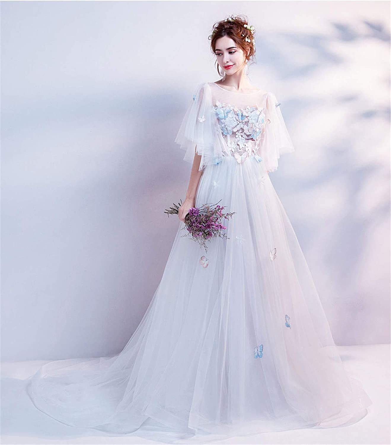 Bridal Wedding Dress Women Elegant Holiday Travel Photo Light Lawn Outdoor Seaside Beach Exterior