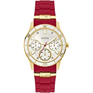 GUESS  Gold-Tone + Iconic Red Stain Resistant Silicone Watch with Day, Date + 24 Hour...