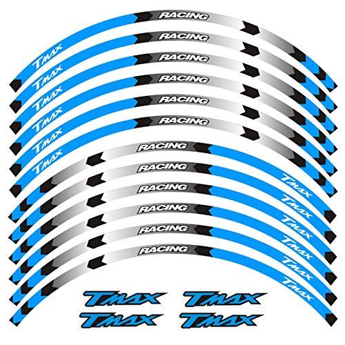 Carreras 12 Tiras Personalidad Accesorios Motocicletas Accesorios de la Rueda Calcomanías de la Rueda Pegatinas Reflectantes Rim Exteriores para Yamaha Tmax Tmax (Color : 230174)