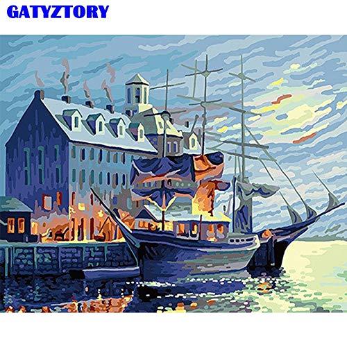 baodanla Geen frame ng Door Kit Saiende Boot Landschap Wandkunst Foto Kleurplaten Door Voor Home Deco Ar