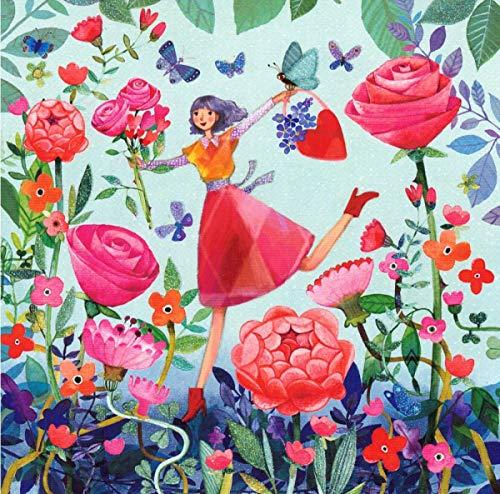 """""""Mila Marquis"""": Frau mit Rosenblüten, Glitzer Größe: 14x14cm"""