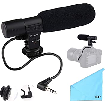 For Canon EOS Rebel T3i Shotgun Bower Elite Stereo Microphone With Windscreen