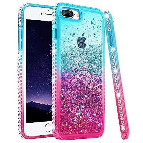 Ruky iPhone 8 Plus Case, iPhone 7 Plus Glitter Case, Colorful Quicksand Series Soft TPU Bling Diamond Flowing Liquid Floating Girls Women Case for iPhone 6 Plus 6s Plus 7 Plus 8 Plus (Teal Pink)