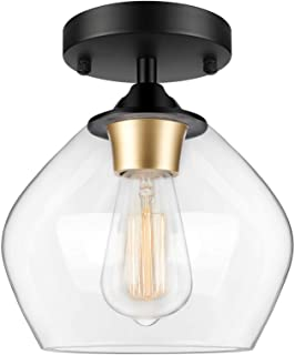 Modern Semi Flush Mount Ceiling Light with Clear Glass Shade, Industrial Close to Ceiling Light, Black Hanging Ceiling Lig...