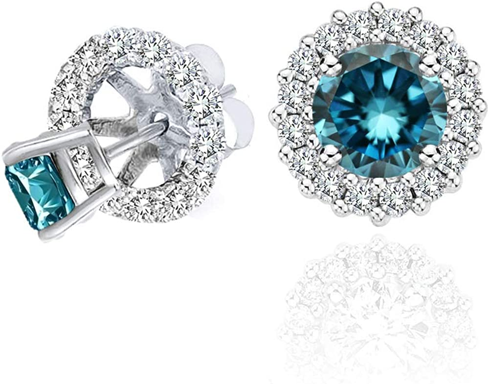 0.75 Total Carat Weight Blue And White Diamond Halo Stud Solitaire Earrings Jackets 14K White Gold
