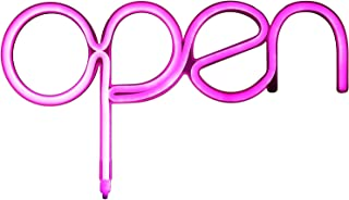 Open Sign Pink USB Powered LED Sign 15.5x8.4 inch,Long Cord 11.5 FT Girls LED Neon Open Sign Light for Pub,Bar,Beer,Café,Ice Cream Truck,Spa,Beauty or Hair Salon,Florist,Massage,Tattoo Store(NEOP)