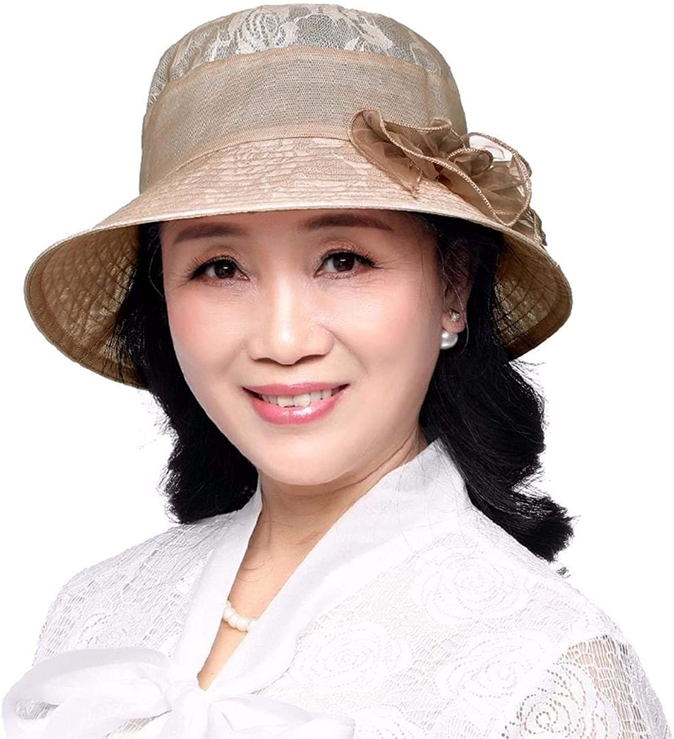 Dingkun Gift for Mom Gift for grandmother Summer hat folding cap old hat sunscreen hat Beach Hat Hat middle aged hat