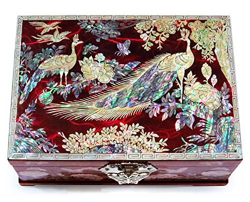 MADDesign TwoPeacocks Jewelry Box Ring Organizer Mother of Pearl Inlay Mirror Lid 2 Level Peacock Red