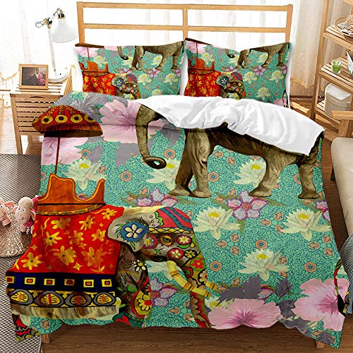 Bedclothes-Blanket Juego de sabanas Infantiles Cama 90,Ropa de Cama de impresión Digital 3D Conjunto de Tres Piezas de Elefantes Animales-5_175 * 218cm