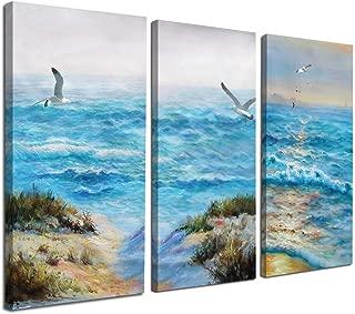 Canvas Wall Art Blue Ocean Seascape Painting Pictures Nature Landscape Birds Modern Artwork 16