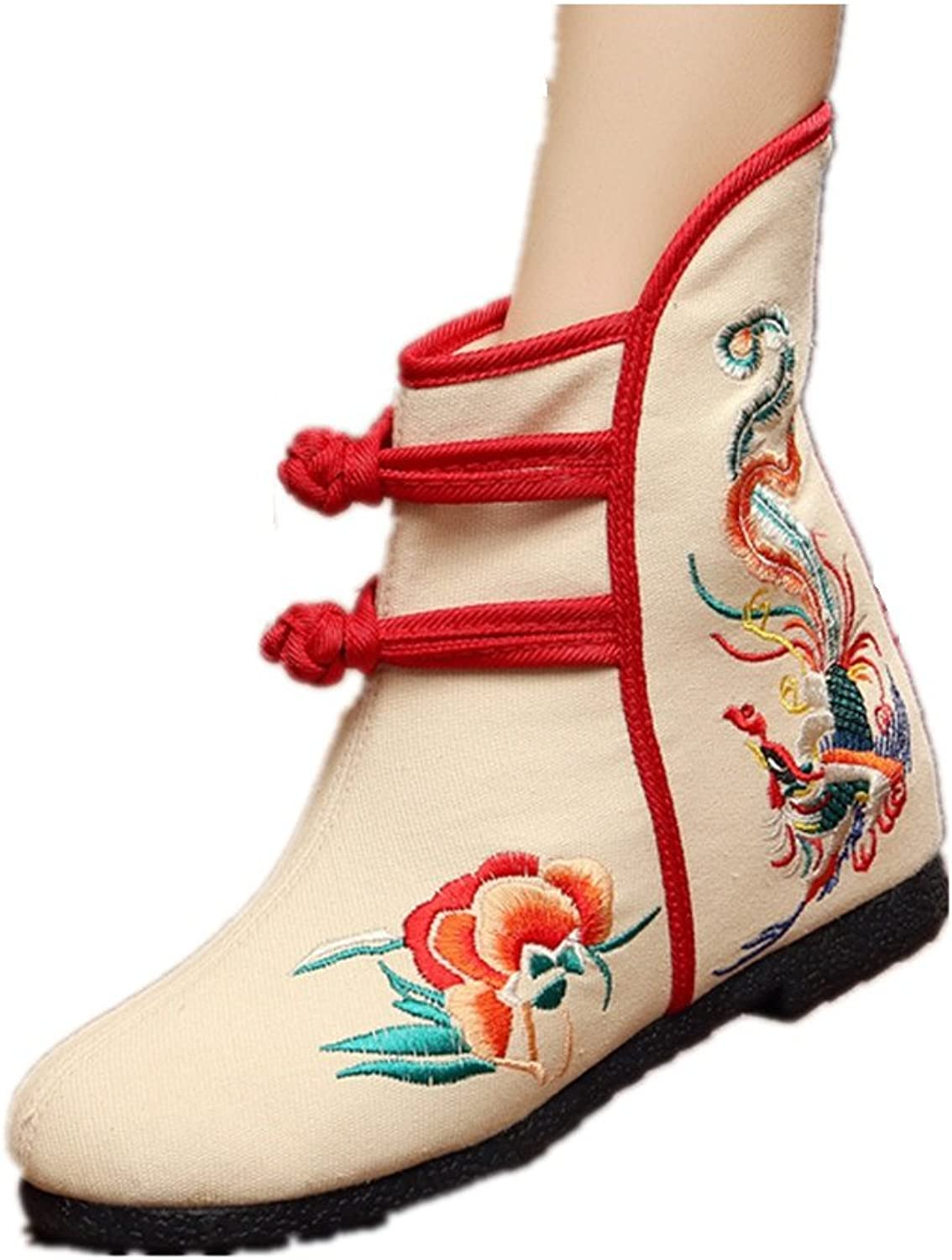 Tianrui Crown Women and Ladies Embroidery Fall & Winter Flat Ankle Boot shoes