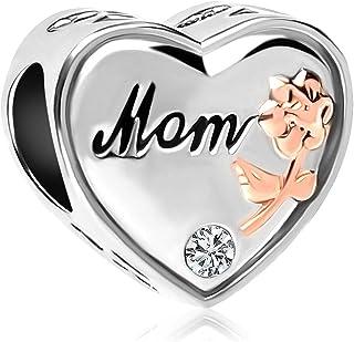 Q&Locket Mom Charm Heart Love Rose Flower Charms Beads for Bracelets