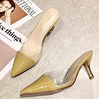 Pointed Half Slippers Women's Thin Heeled Baotou Transparent High Heels Outer Wear Shoes