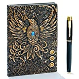 3D Vintage Leder Notizbuch,A5 Liniert, Geprägte Reisetagebuch Tagebuch Journal Buch Personal Organizer Notizheft Hardcover Business Schule Geschenk für Männer Frauen Kinder (Phönix(Bronze))