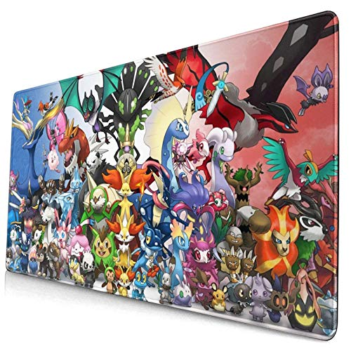 Professional Rectangle Non-Slip Rubber Gaming Large Computer Mousepad Cartoon Squirtle Charmander Bulbasaur Pokemon Pikachu Anime All Legendary XXL Mouse Pad Desk Mat 15.8x29.5 in