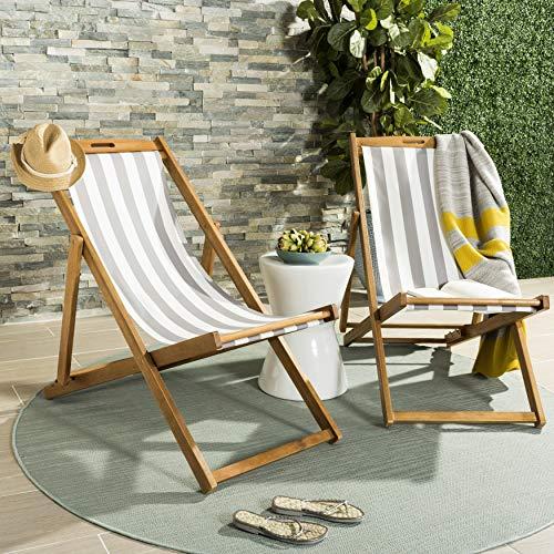 Safavieh PAT7040B-SET2 Outdoor Collection Loren Teak, White Foldable Sling Adirondack Chair, Natural/Grey Stripe