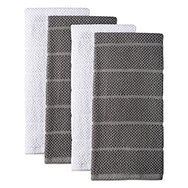 DII 100% Cotton Ultra-Absorbent Cleaning Drying Luxury Chef Terry Dish Towels for Everyday Kitchen Basic 16 x 26 Set of4- Gray/White