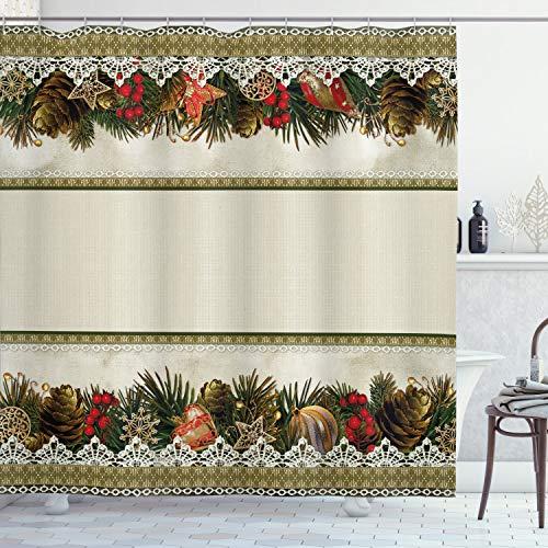 ABAKUHAUS Weihnachten Duschvorhang, Vintage verzieren Natur, Trendiger Druck Stoff mit 12 Ringen Farbfest Bakterie & Wasser Abweichent, 175 x 200 cm, Multicolor