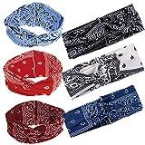 6pcs Diademas Pañuelos Anchos Boho para la Cabeza Banda Floral Turbante Elástico para Mujer Yoga Fiesta Deporte (6 colores)