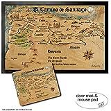 1art1 Camino De Santiago De Compostela, El Camino De Santiago Anno 1445, Jon Mellenthin Felpudo Alfombra (60x40 cm) + Alfombrilla para Ratón (23x19 cm) Set Regalo