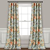 "Lush Decor Sydney Curtains | Floral Garden Room Darkening Window Panel Set for Living, Dining, Bedroom (Pair), 84"" x 52"", Blue and Green, L, Blue & Green"