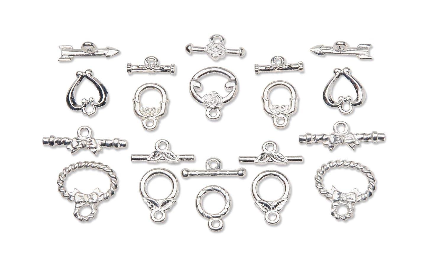 Jewelry Designer 1990-40 Bv Toggle Clasp Set BRT Silver 10 Pc