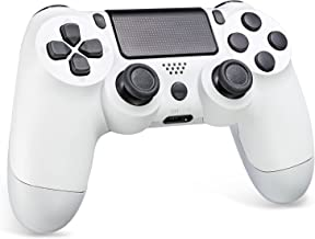 Wireless Controller for Plstation 4, Game Double Shock 4 Controller Compatible with Plstation 4/ S4 Slim/ Pro Console, with Touch Panel, Dual Vibration, Audio Function (White)
