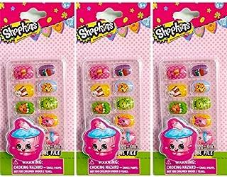 Shopkins Press-On Nails: Cupcake 3 packs (Total 30 nails & 3 Cupcake Chic Nail Files)