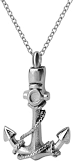 ZARABE Navy Anchor Ship Sailor Cremation Urn Jewelry Necklace Pendant Ashes Stainless Steel (Silver)
