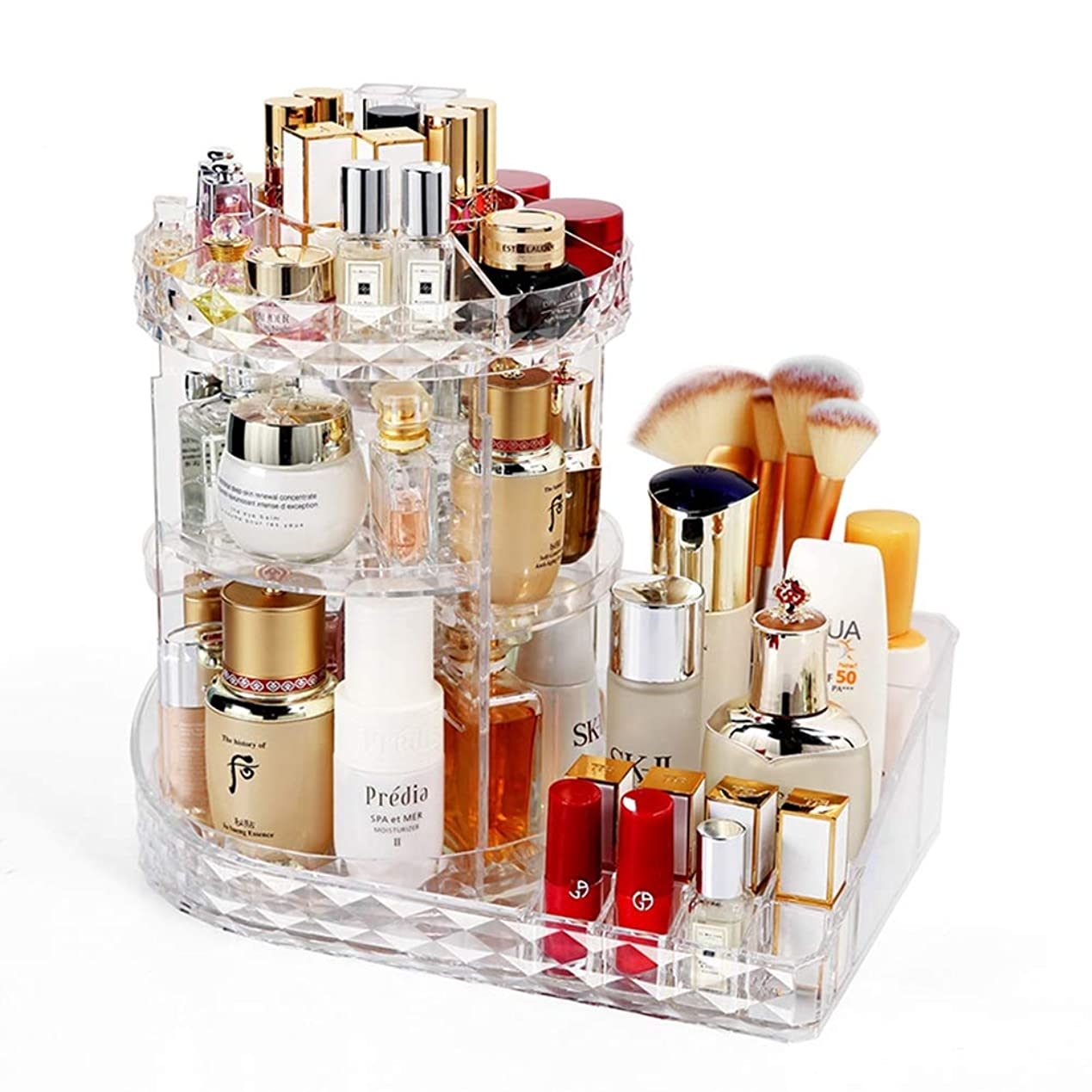 商人付き添い人まで化粧オーガナイザー、360度回転調節可能な化粧品収納陳列ケース、クリアアクリル、ジュエリーにフィット、化粧ブラシ、口紅など,B