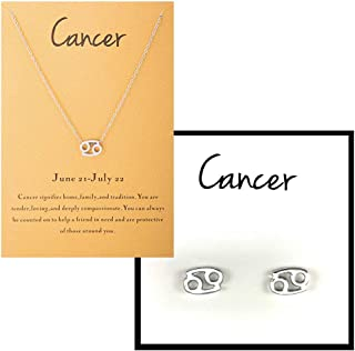 EMESLY White Gold/Yellow Gold Zodiac Sign Earrings & Necklace Set for Women; Perfect Jewelry Gift for Women & Girls
