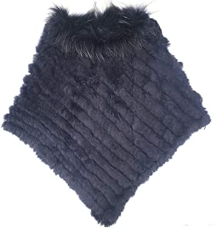 Yu He Women's New Womens Real Rabbit Fur Raccoon Collar Poncho Knitted Cape Jacket Coat Shawl