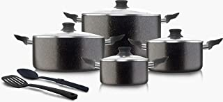 GPRO® 10Pcs Granite Coating Nonstick Cookware Set -(Hammertone Brown)