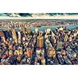 GREAT ART Mural de pared ? Skyline de la ciudad de Nueva York ? Sunset Manhattan America USA Deco Big Apple NYC Photo Wallpaper muro Foto papel tapiz y decoración 210 x 140 cm