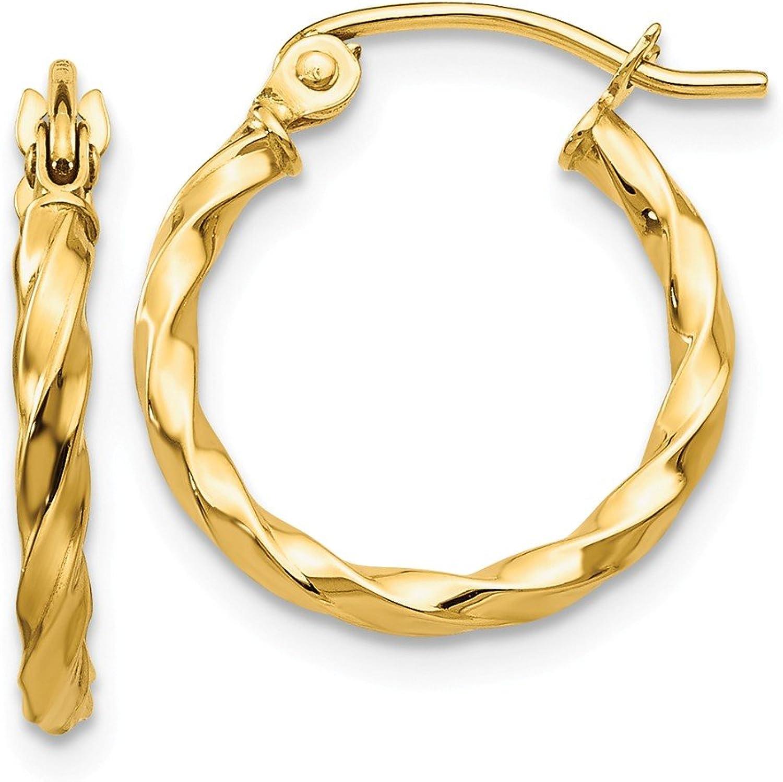 Beautiful Yellow gold 14K Yellowgold 14k Twist Polished Hoop Earring