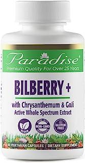 Paradise Herbs - Bilberry - Goji + Chrysanthemum   Supports Optimum Eye + Capillary Health - 60 Count