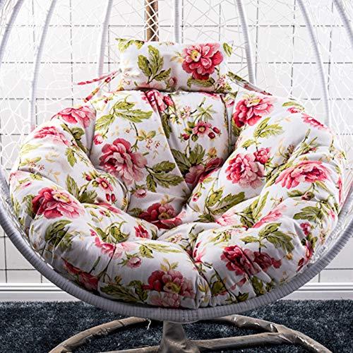 LoveHouse Hanging Egg Hammock Chair Cushion,Cotton Floral Print Wicker Swing Seat Cushion Thicken OVERSIZED Papasan Rocking Chair Pad
