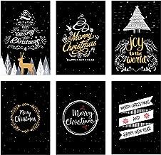Amosfun 24pcs Tarjetas de felicitación de Tarjeta de Nota de Agradecimiento de Navidad para Amigos de Vacaciones de Navidad (patrón 6)