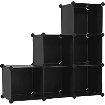 SONGMICS Cube Storage Organizer, 6-Cube Closet Storage Shelves, DIY Plastic Closet Cabinet, Modular Bookcase, Storage Shelving for Bedroom, Living room , Office, Black with Rubber Hammer Black ULPC06H