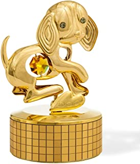"""Matashi 24k Gold Plated Dog Music Box Plays """"Memory"""" 