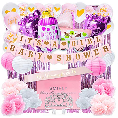 Baby Shower Decorations for Girl Kit: Girls Baby Shower Party Supplies Bundle with Pink, White, and Gold Themed Decor - It's A Girl Party Pack Includes Banner, Balloons, Curtains, Pom Poms and More
