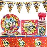 Set de Fiesta de cumpleaños de Mickey - WENTS 53PCS Disney Mickey Mouse Party Decoration ...