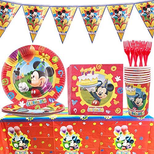 Set de Fiesta de cumpleaños de Mickey - WENTS 53PCS Disney Mickey Mouse Party Decoration Set Platos Tazas Servilletas Pack de Fiesta reciclable Mickey Mantel Sirve para 8 Invitados