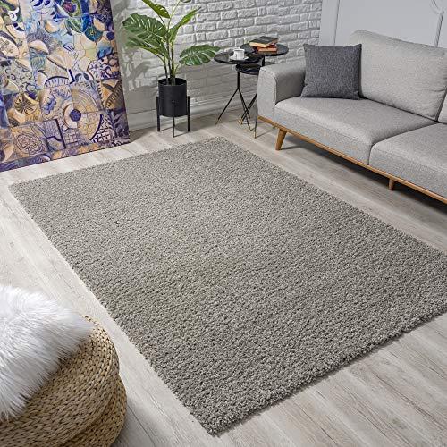 Impression Wohnzimmerteppich - Hochwertiger Öko-Tex zertifizierter Flächenteppich - Solid Color Teppich Hellgrau - Größe 160x230
