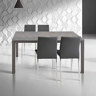 InHouse srls Table avec Plateau en Bois et estructure en Metal, 1 rallonge cm. 50; Dimensions cm. 110X70; avec rallonge cm...