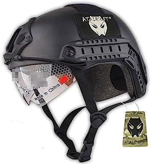 ATAIRSOFT Fast MHタイプ タクティカル アウトドア エアソフトヘルメット 米軍風 多機能サバゲーヘルメット ゴーグル付き NVGマウントレール付き ABS製 野戦ヘルメット (ブラック)