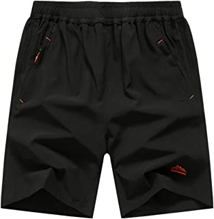 HOW'ON Men's Outdoor Sports Quick Dry Hiking Shorts Zipper Pockets