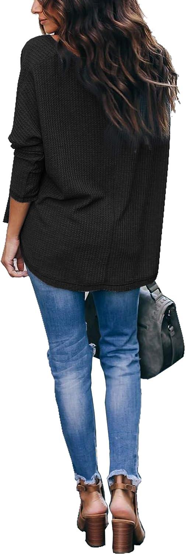 iGENJUN Women's Casual V-Neck Off-Shoulder Batwing Sleeve Pullover Sweater Tops