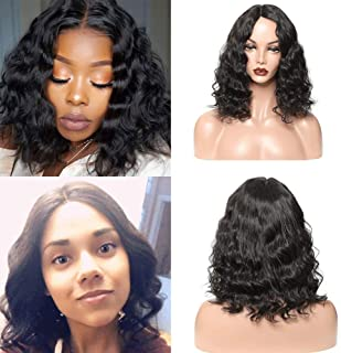 Brazilian Short Body Wave Human Hair Wigs for Black Women Bob Wigs with Middle Part Lace Pre-plucked Natural Wave Wigs Natural Color(14 inch with 130% density)